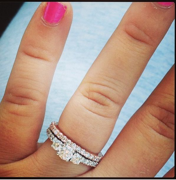 Great Love the silver engagement ring with the rose gold wedding band uc