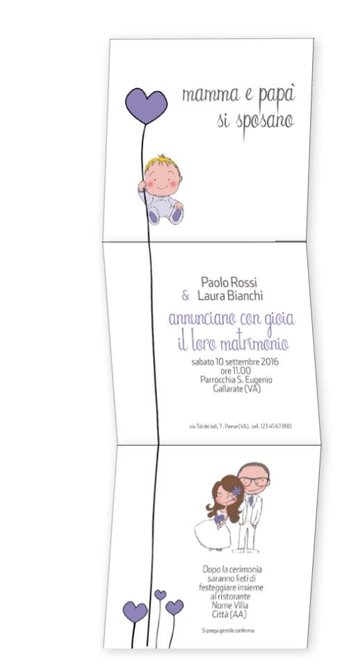 Partecipazioni Matrimonio Stampabili.Mamma E Papa Si Sposano Partecipazione Realizzata Con Piega