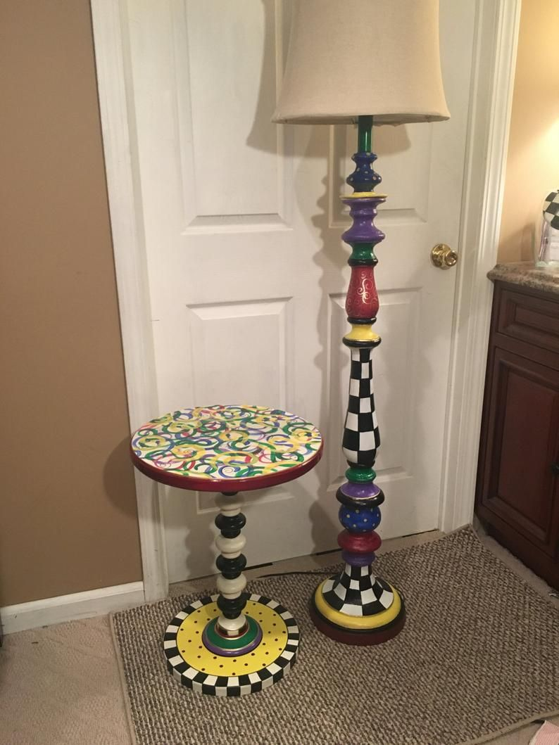 Whimsical Painted Accent Table One 1 Round Painted Side Etsy In 2020 Funky Painted Furniture Painted Side Tables Painted Accent Table