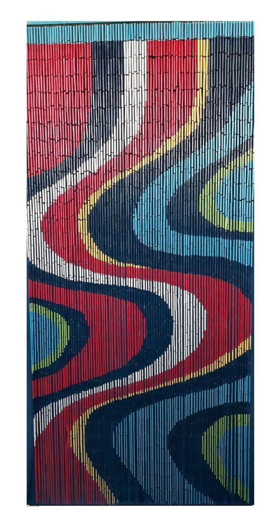 Bamboo beaded curtain color art in 2020 Beaded
