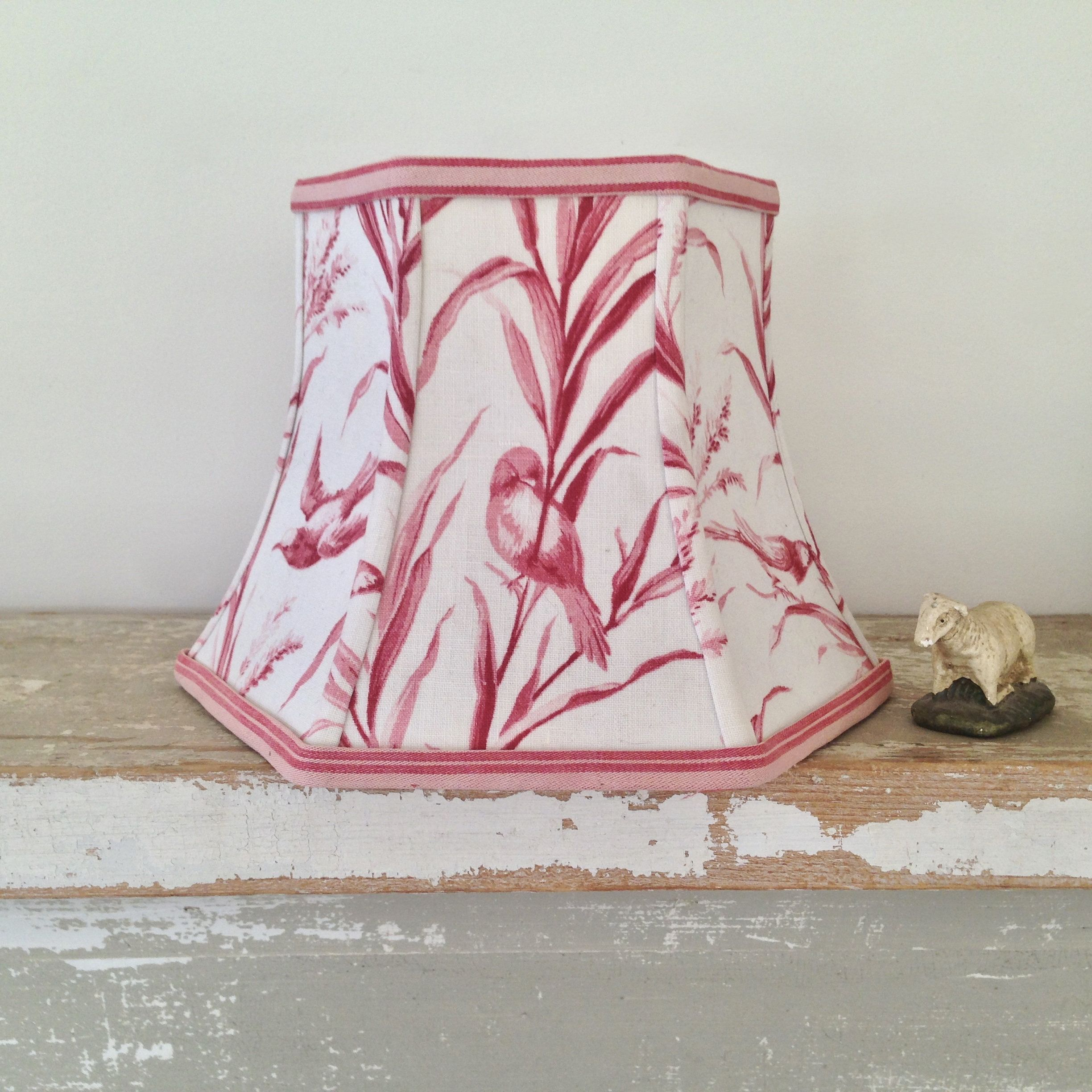 French Bird Toile Lamp Shade Red Hex Bell Lampshade Small