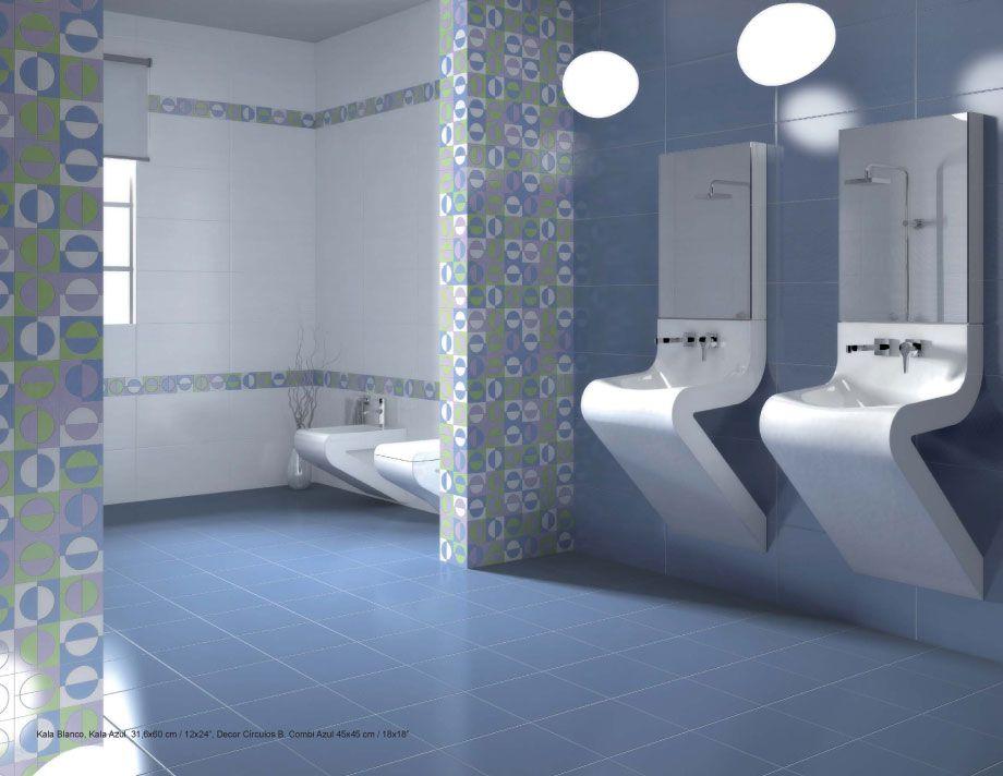 Kala blanco azul azulejos para ba os pinterest - Banos en azul y blanco ...