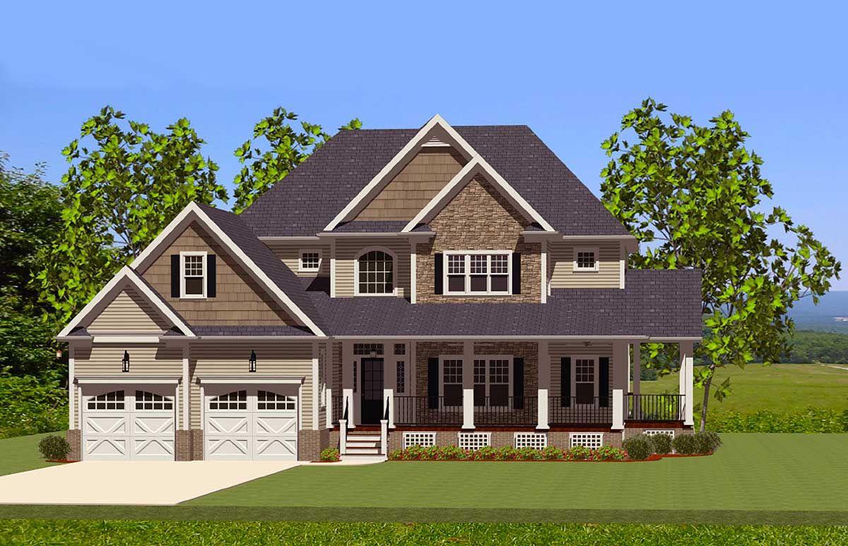 Plan 46226LA: Beautiful Farmhouse Home with Wrap-Around Porch ...