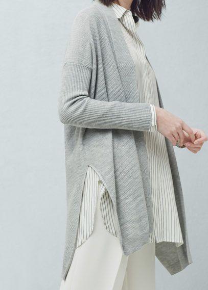 Chunky-knit wool-blend cardigan | MANGO