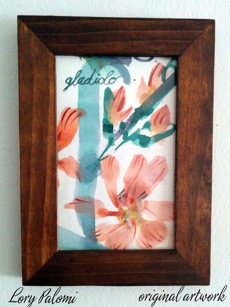 GLADIOLO DESCRIPCION: acuarela sobre papel, motivo floral, con marco de madera. MARCA Y PERIODO: acuarela original, año 2013 MEDIDAS: papel 15x10 cm, marco 18,5x13,5 cm