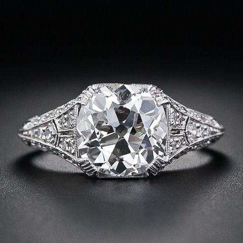 3.01 Carat Antique Cushion-Cut Diamond Ring