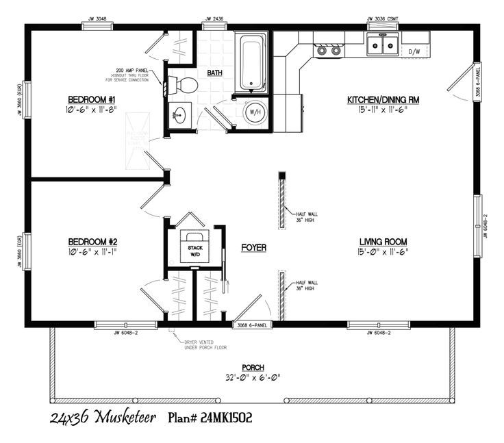 24x48 two bedroom floor plan google search ideas for for Simple cabin plans 24 by 24