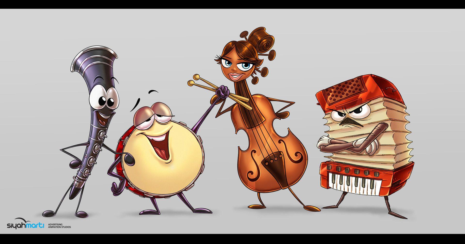 instruments character design (music island / tv series