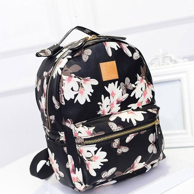 5b752636658 New Women Butterfly Flower Small Backpack Printed PU Leather Lady Fashion  Cute Travel Backpacks LXX9