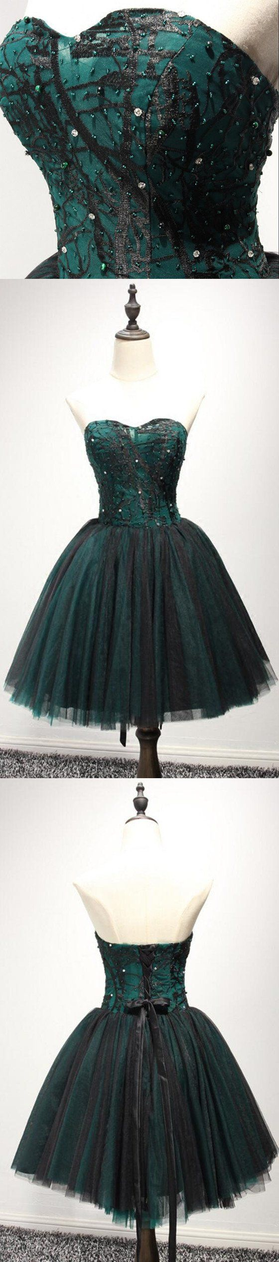 Strapless dark green black lace tulle homecoming prom dresses cm