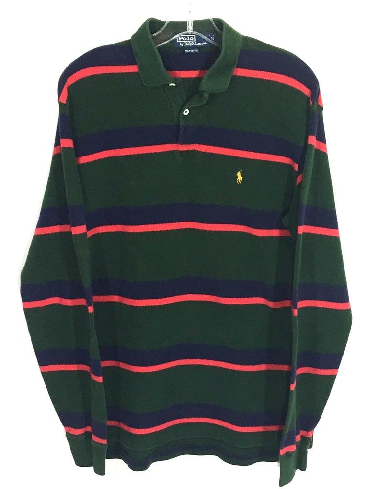 Polo Ralph Lauren Striped Rugby Shirt Long Sleeve Green Red Blue Mens  Medium M | Clothing, Shoes \u0026 Accessories, Men\u0027s Clothing, Casual Shirts |  eBay!