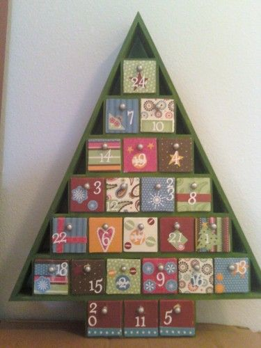 Wood Advent Tree W 24 Storage Drawers Ready To Paint Unfinished Arts Crafts Sewing