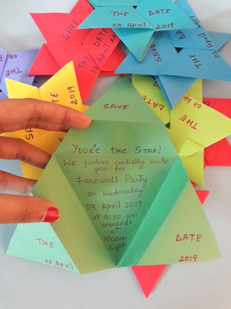 Message inside the card Farewell Star Theme Invitation