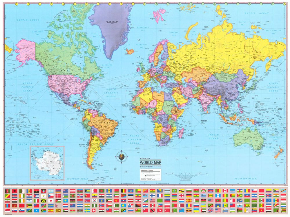 36x48 hammond world wall map large mural poster new wall maps 36x48 hammond world wall map large mural poster new gumiabroncs Images