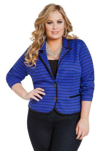 Ashley Stewart Women's Plus Size Striped Ponte Blazer