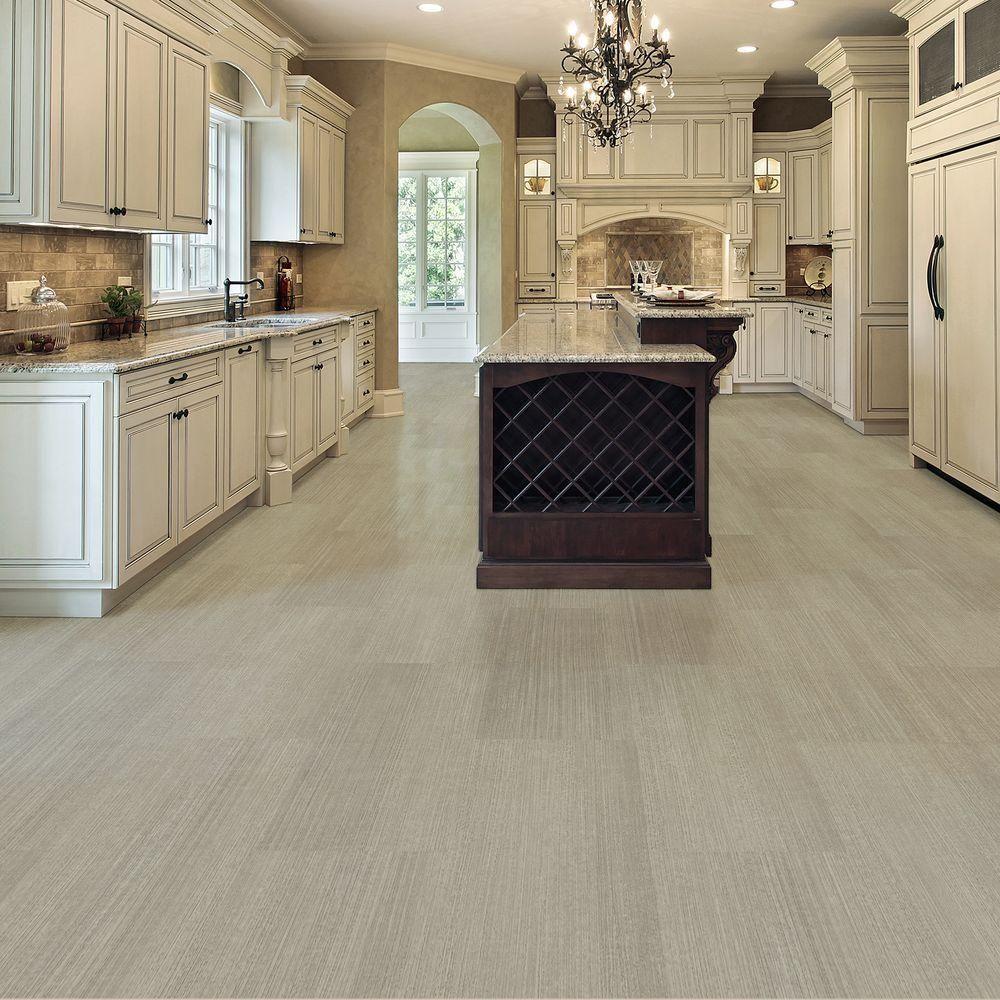 Trafficmaster Allure Cream Concrete Resilient Vinyl Tile Flooring