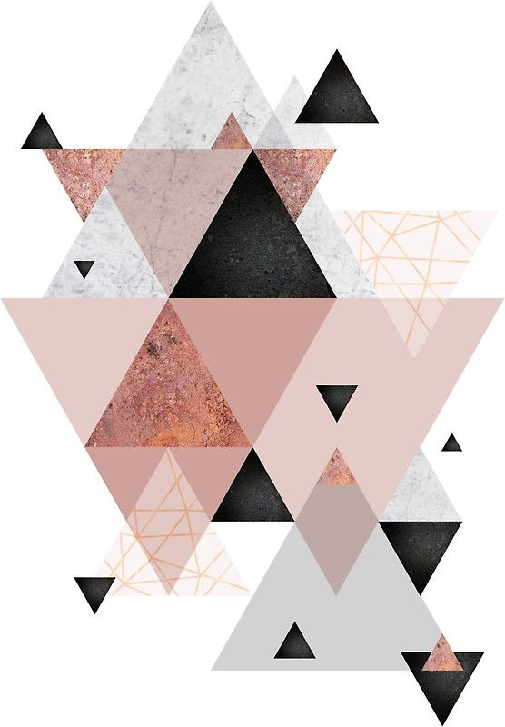 Geometric Compilation In Rose Gold And Blush Pink Art Print