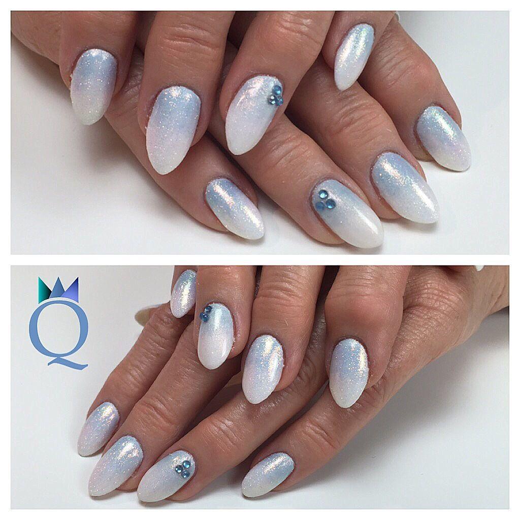 almondnails #nails #gelnails #blue #white #ombre #mermaidpigment ...