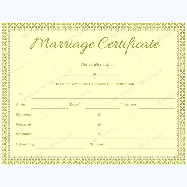 Formal Marriage Certificate Template Marriage Certificate