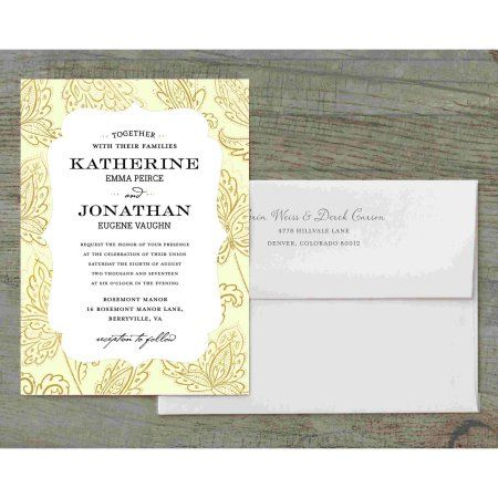 Glamorous Blooms Deluxe Wedding Invitation, Yellow