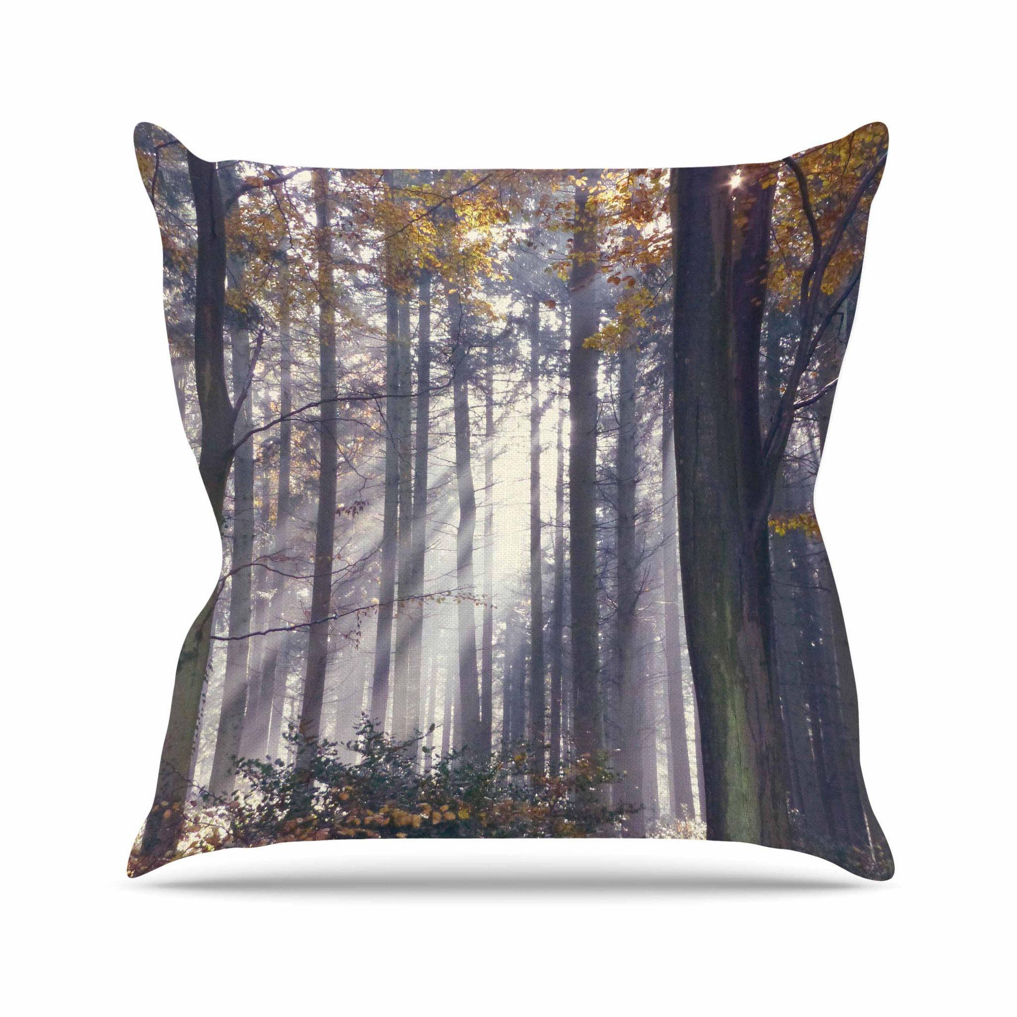 "Alison Coxon ""Autumn Sunbeams"" Trees Photography Outdoor Throw Pillow"