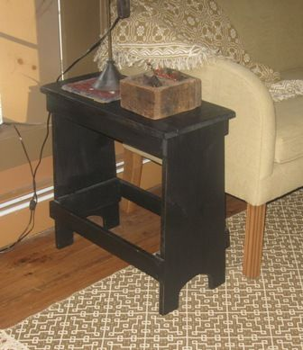 Primitive End Table Bench Side Wood Decor