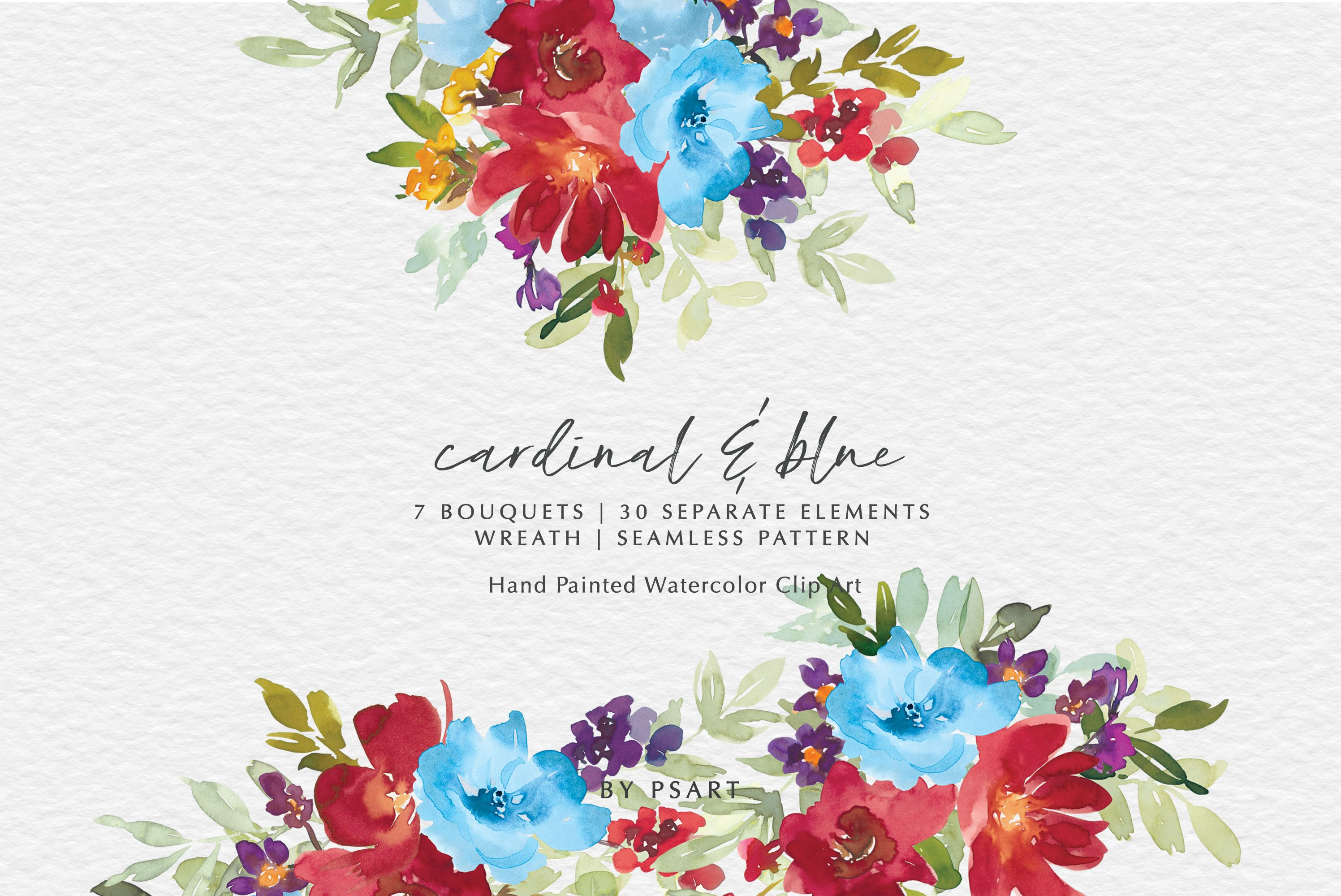 Red Blue Watercolor Floral Clip Art Set Graphic By Patishop Art