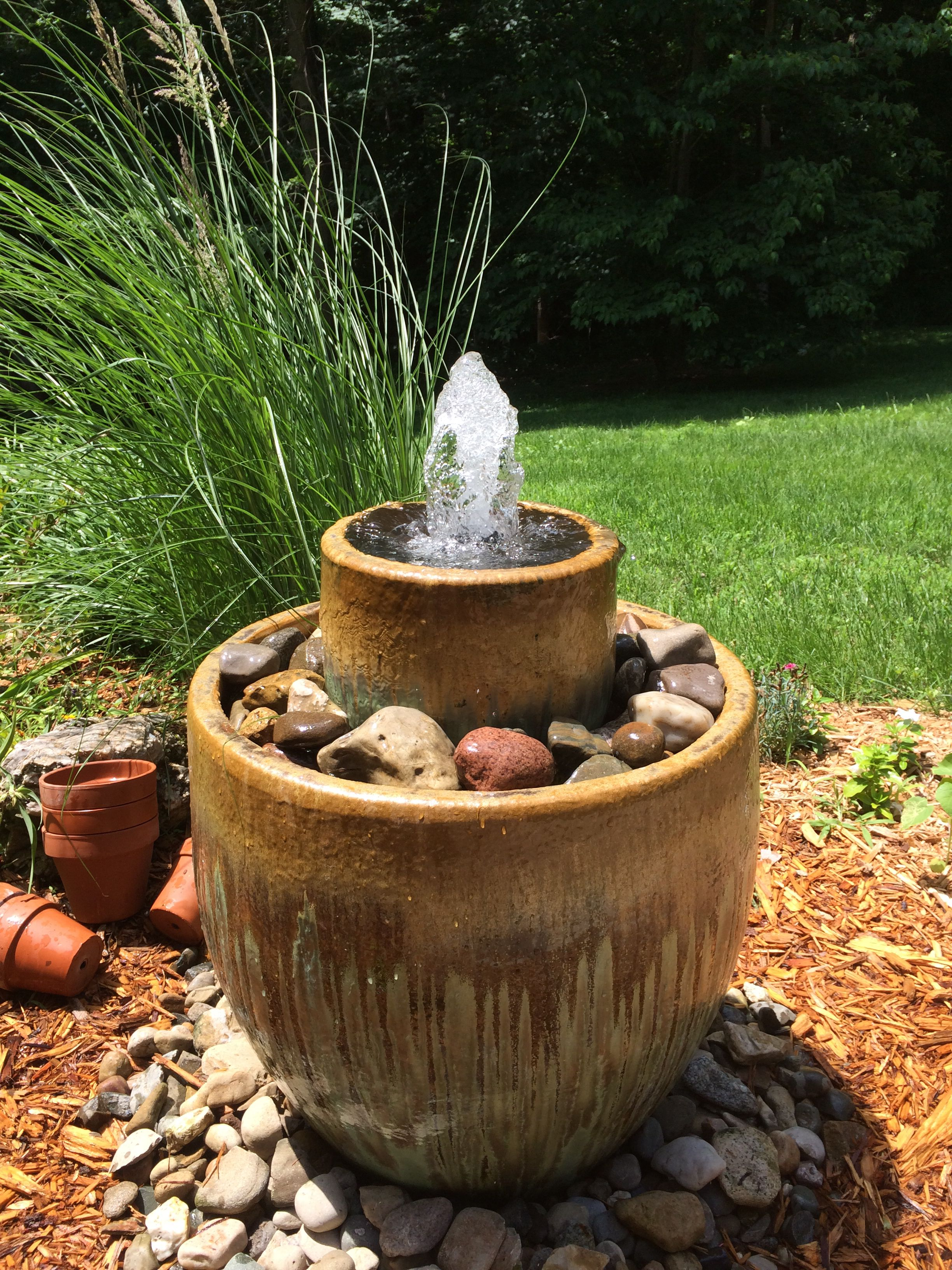 Diy Water Feature Supplies Include Garden Pump Tubing Rural King Sealant Ace Hardware Pots Walm Solar Fountain Diy Garden Fountains Diy Solar Fountain