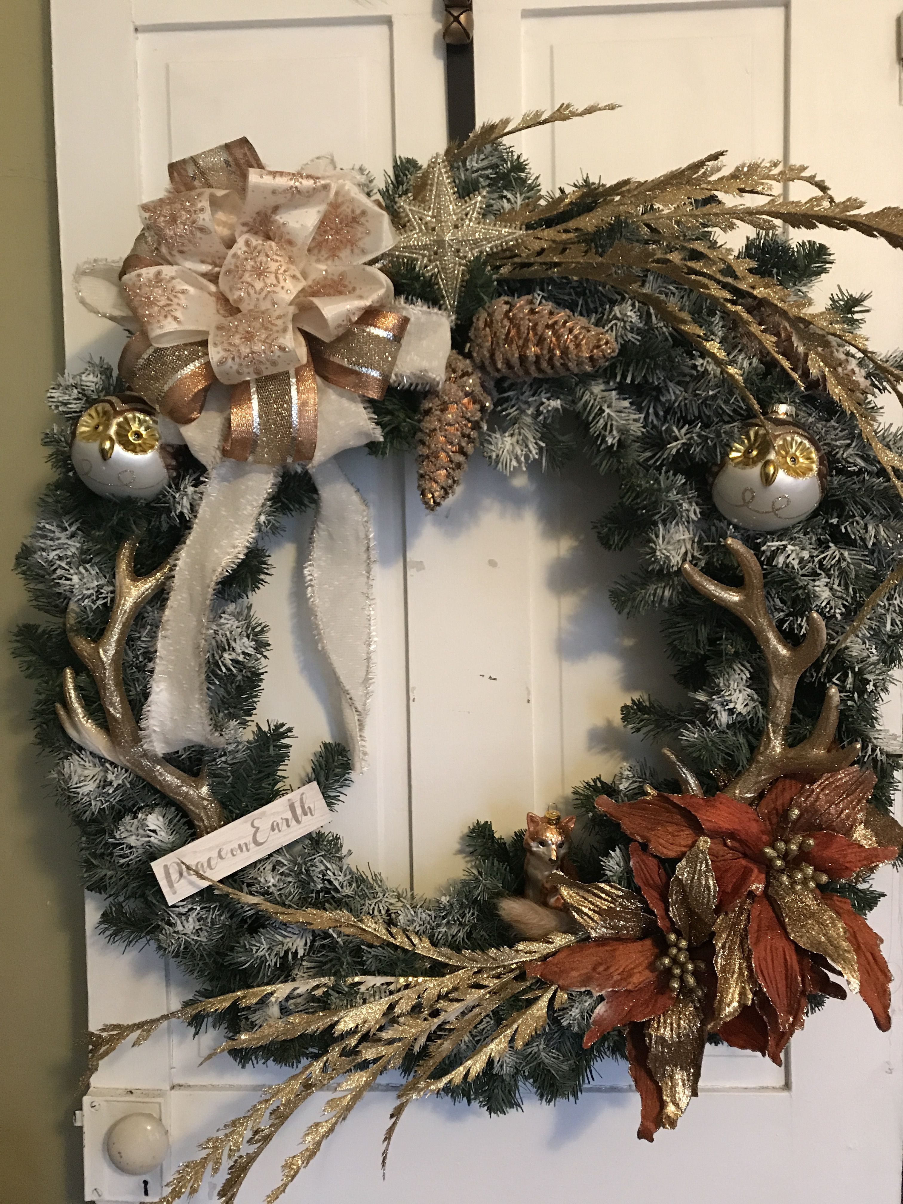Gorgeous large woodland theme Christmas wreath ...