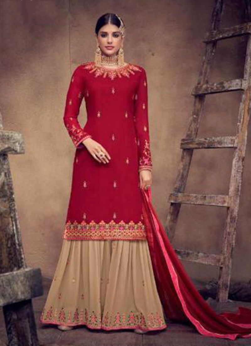 wedding wear red georgette embroidery work sharara suit