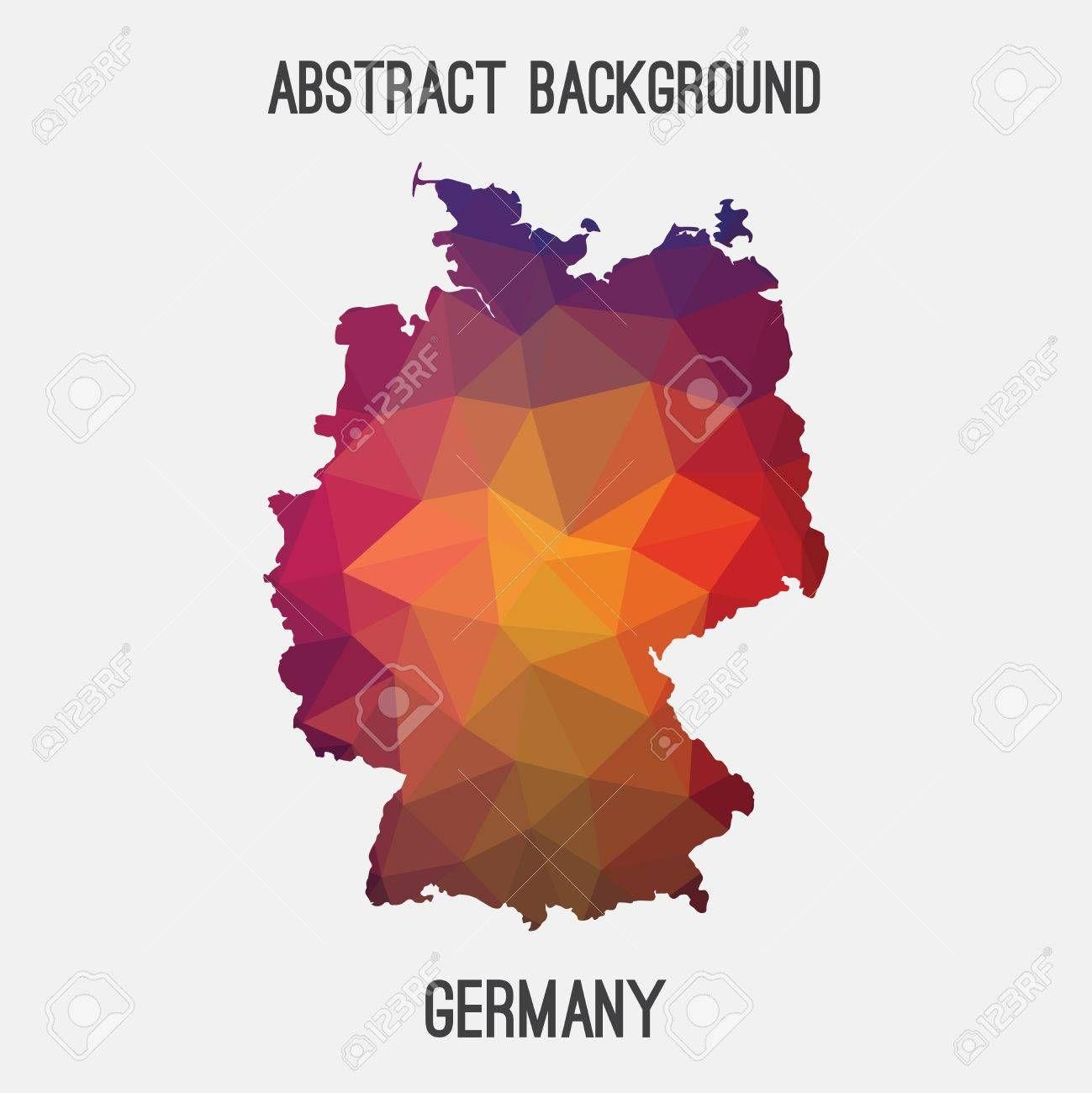 Germany Deutschland Map In Geometric Polygonal Style