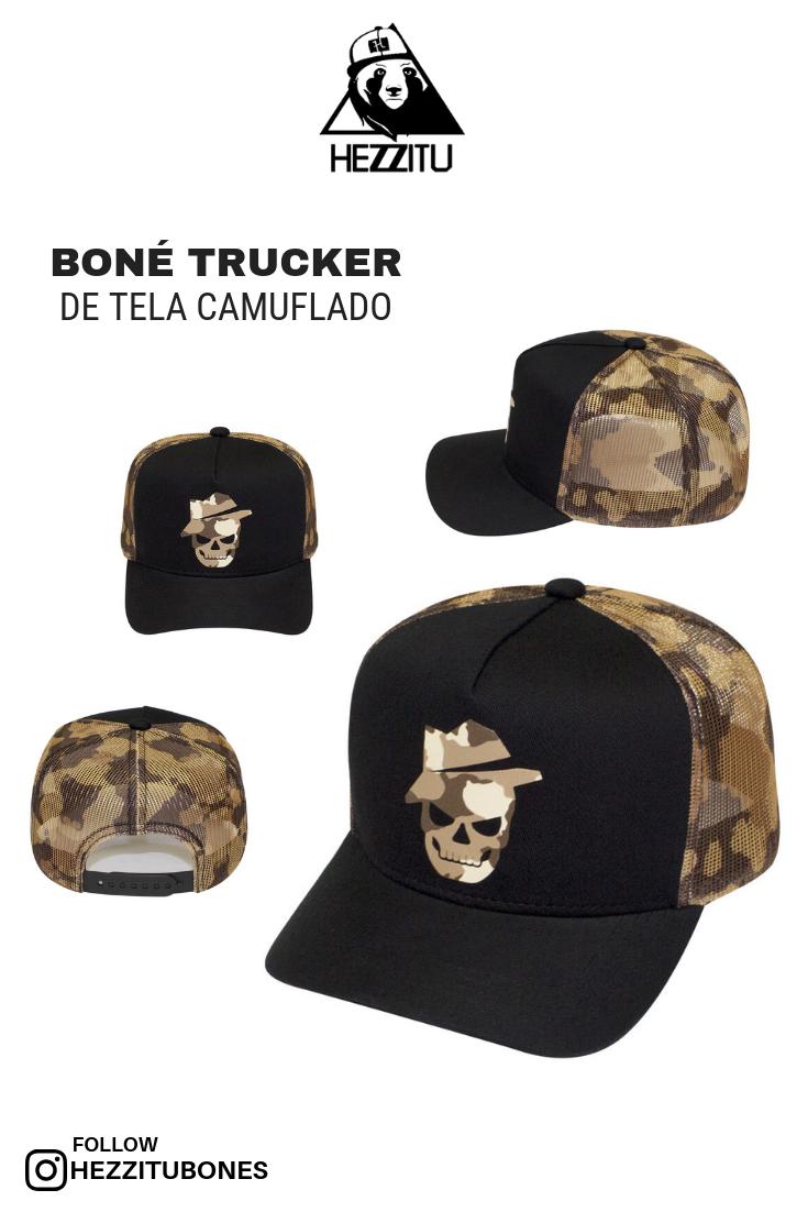 Boné trucker de tela camuflado nas laterais e traseiros 7447bcb15d4