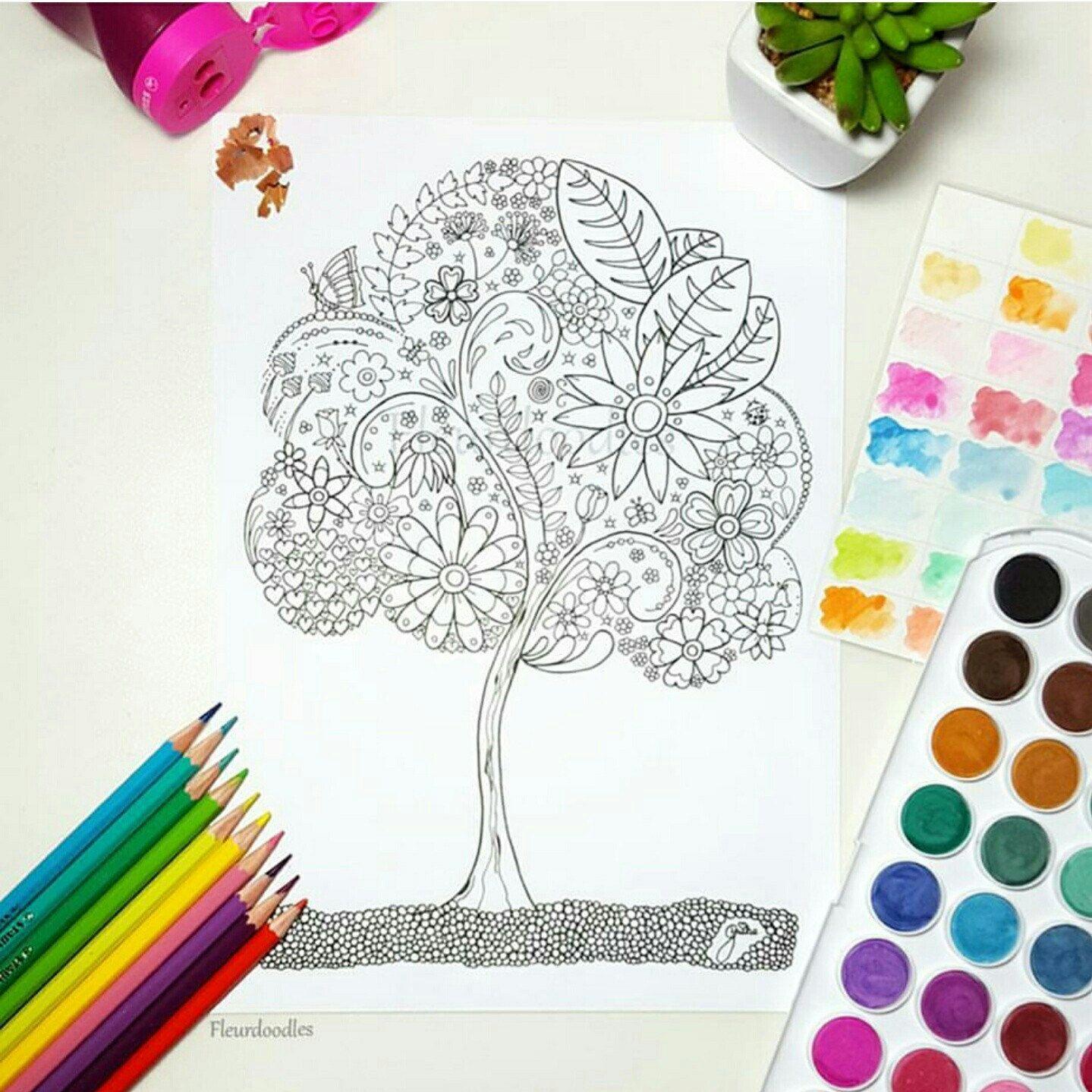 Doodle Tree 1 - Malseite für Erwachsene - Ausmalbilder zum ...