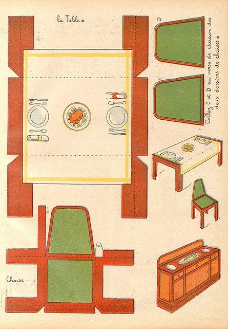 Salle A Manger 2 Paper Doll House Paper Toys Paper Furniture