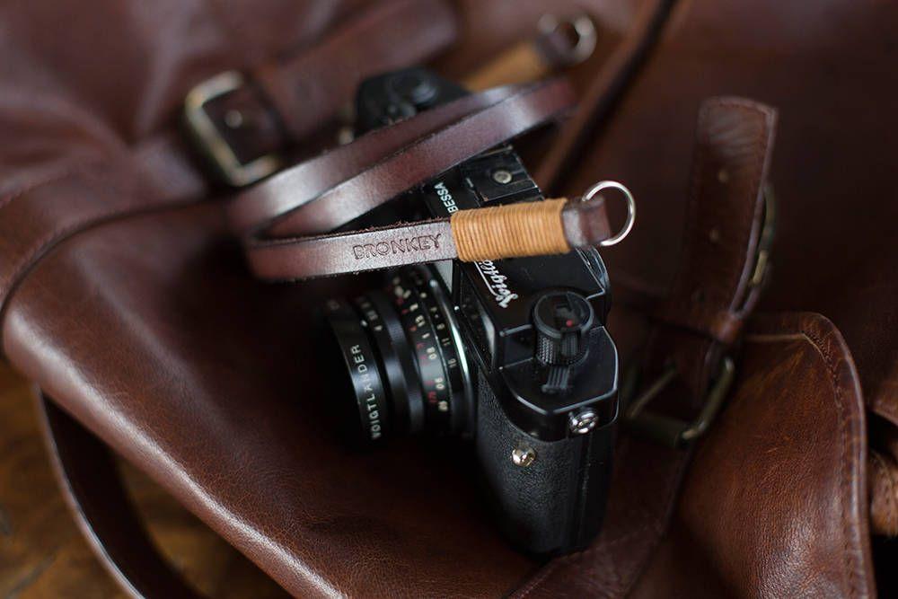 BRONKEY – Correa de piel cámaras fotográficas mirrorless y compactas tipo Nikon, Leica, Fuji, Sony, Olympus, Fujifilm, vintage, 35mm, etc