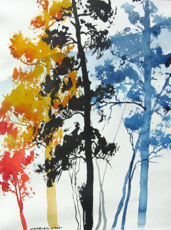 Aspen Colors Iv Original Watercolor Painting Paintings A