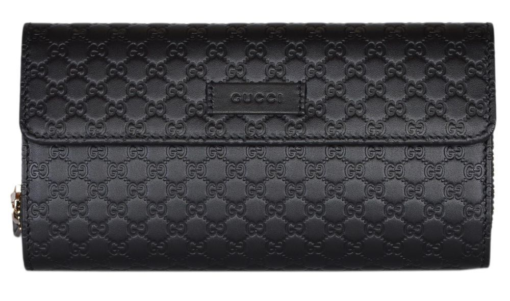 81044aff79c New Gucci Women s 449364 Black Leather Micro GG Continental Bifold Wallet  W Zip  Gucci  Bifold