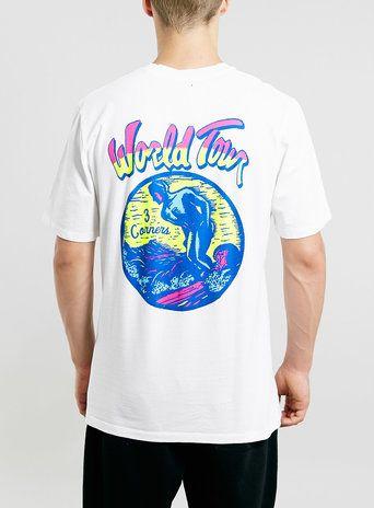 3CRNRS WHITE WORLD TOUR PRINT T-SHIRT - Men's Tees & Tanks - Clothing