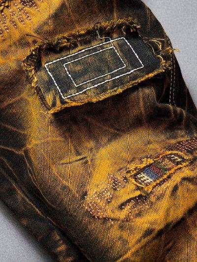 Holes Design Patched Dye Straight Leg Denim Pants ,
