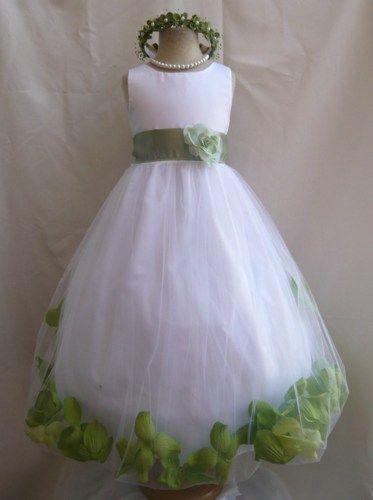 cc73af881a Flower Girl Dress WHITE Green Sage PETAL Wedding Children Easter Bridesmaid  Communion Green Sage Gold Fuchsia Burgundy Brown Blue Sky