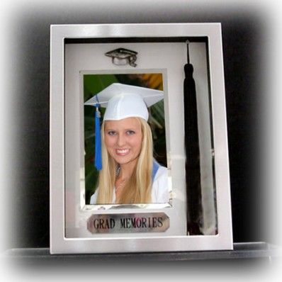 Brushed Silver Picture Frame With Graduation Tassel Holder Nuptial