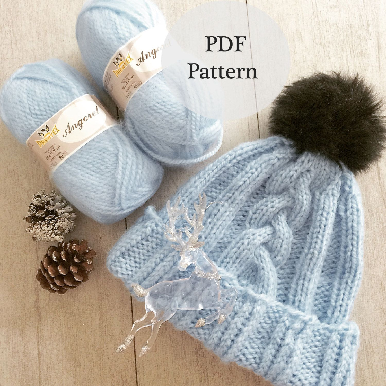 Cable knit hat pdf pattern,DIY patterns, hat knitting patterns, hat ...