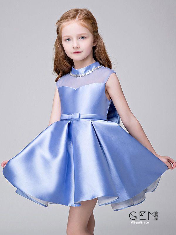 4af0c3b2c4 Elegant satin high neck flower girl dress in custom colors