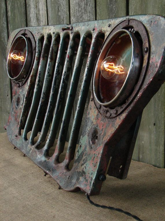 Upcycled vintage jeep grill lighted wall decor by for Auto decoration parts
