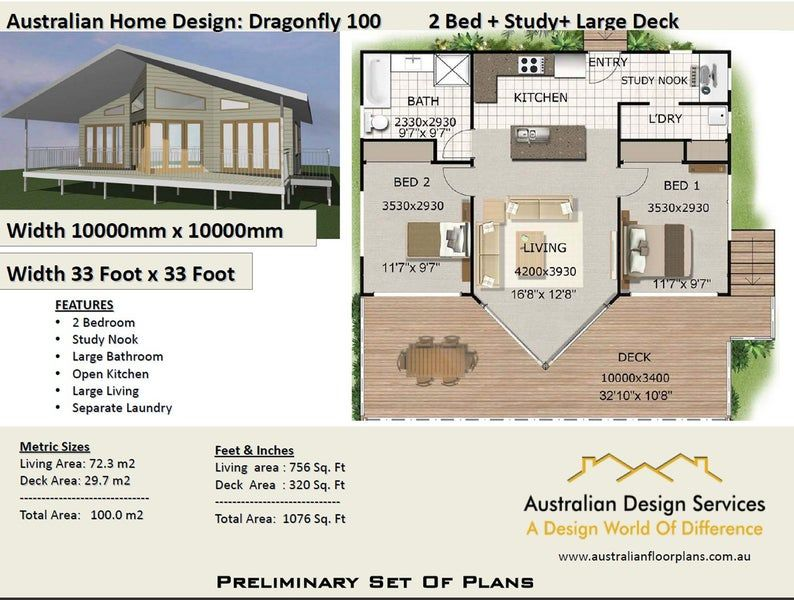 Small House Plans 2 Bed Study Home Design Home On Timber Floor 100m2 Or 1076 Sq Foot House Plans 2 Bedroom New Home Builder Plans In 2021