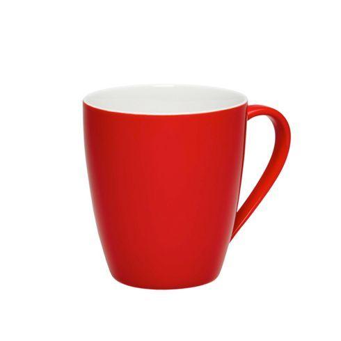 Kaffeebecher aus Keramik in der Farbe Rot.