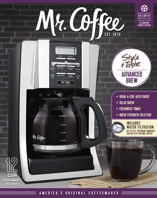 Mr Coffee Bvmc Sjx33gt Am 12 Cup Programmable Coffee Maker With Thermal Carafe Option Chrome Ffp Packagi Coffee Maker Reviews Coffee Maker Best Coffee Maker