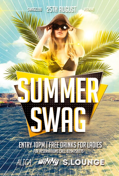 Summer Swag Party Free Flyer Template - http\/\/freepsdflyer - pool party flyer template