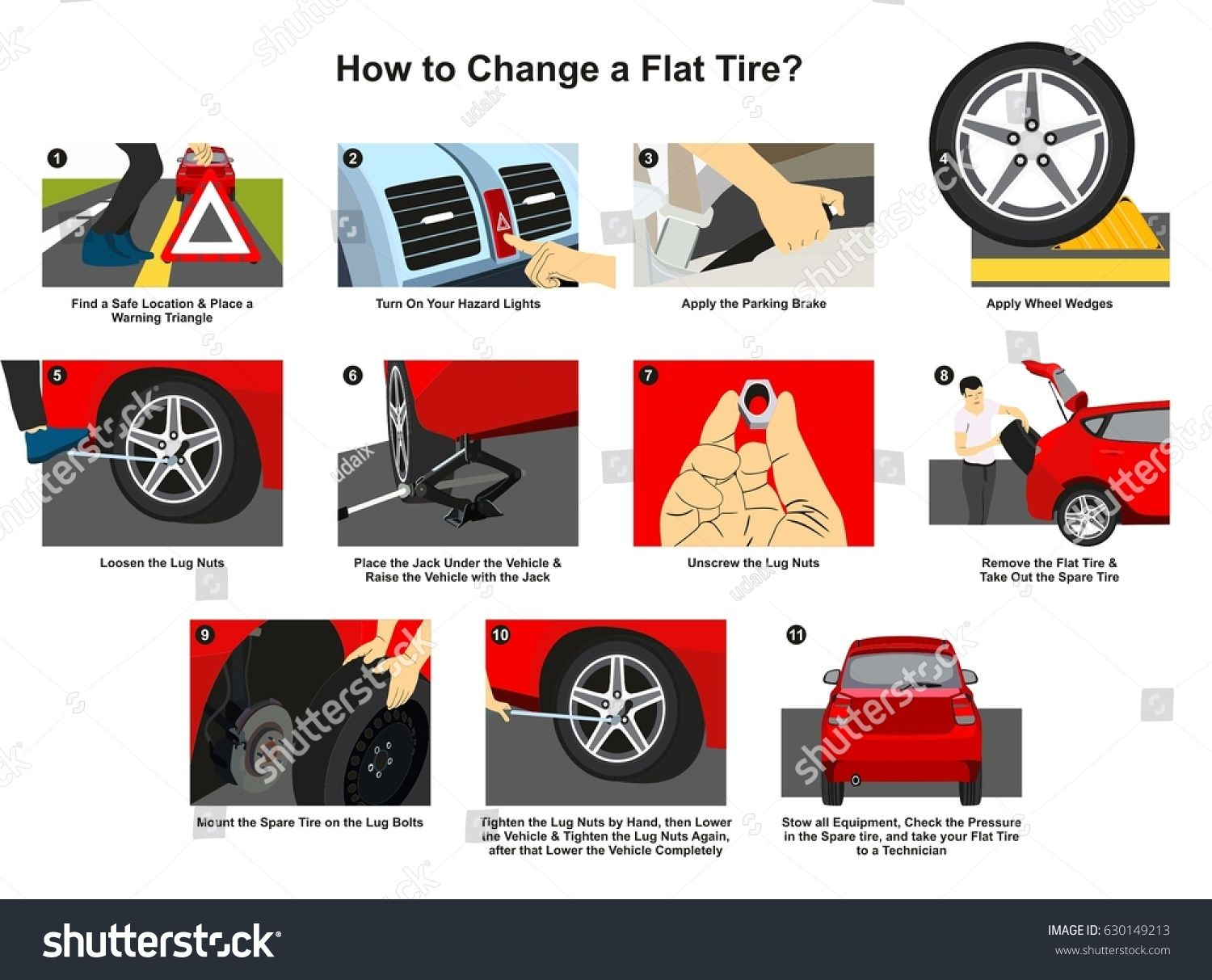 How To Change A Flat Tire Infographic Diagram With Detailed
