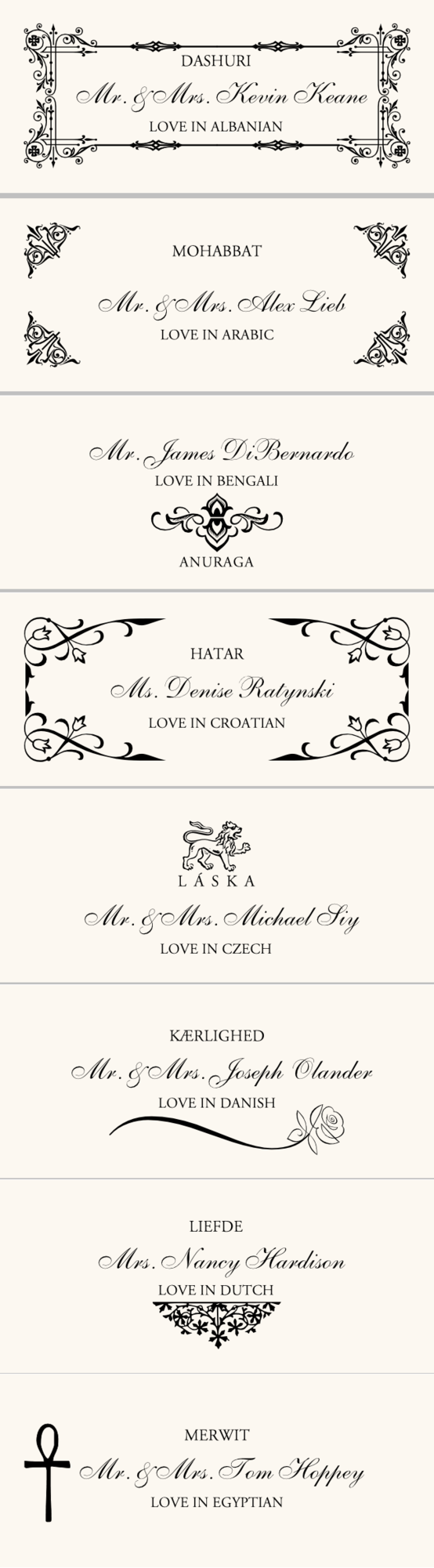 Various love in different languages wedding place cardsescort cards various love in different languages wedding place cardsescort cards buycottarizona Images